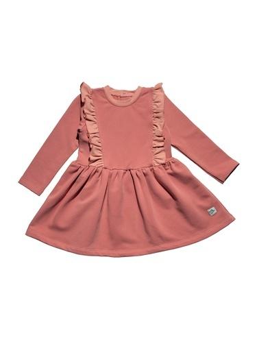 Nila Kids Pembe Rengi Omuzları Fırfırlı Kız Bebek Organik Elbise NK09005P (6 AY- 5 YAş) Pembe